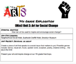 7th Grade Exploration Unit 3: Art for Social Change